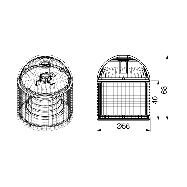 Dome head module dimensions
