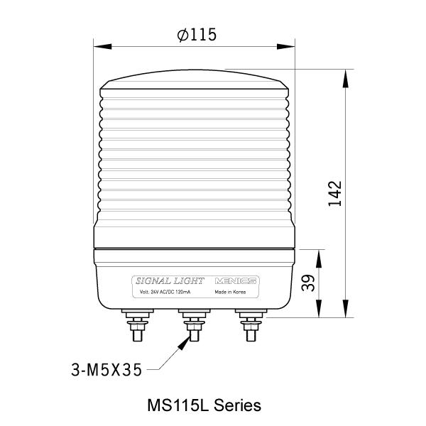 MS115L Dimensions